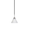 This item: Paramount Matte Black and Brushed Nickel Seven-Inch One-Light Mini Pendant with White Matrix Glass Shade