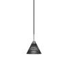 This item: Paramount Matte Black and Brushed Nickel Seven-Inch One-Light Mini Pendant with Black Matrix Glass Shade