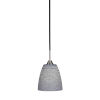 This item: Paramount Matte Black and Brushed Nickel Eight-Inch One-Light Mini Pendant with Gray Matrix Glass Shade