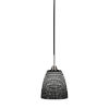 This item: Paramount Matte Black and Brushed Nickel Eight-Inch One-Light Mini Pendant with Black Matrix Glass Shade