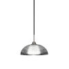 This item: Paramount Matte Black and Brushed Nickel One-Light Pendant with Clear Ribbed Glass Shade