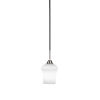 This item: Paramount Matte Black and Brushed Nickel One-Light Mini Pendant with Zilo White Linen Glass Shade