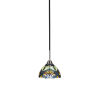 This item: Paramount Matte Black and Brushed Nickel One-Light Mini Pendant with Pavo Art Glass Shade