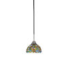 This item: Paramount Matte Black and Brushed Nickel One-Light Mini Pendant with Kaleidoscope Art Glass Shade