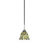 This item: Paramount Matte Black and Brushed Nickel One-Light Mini Pendant with Cresent Art Glass Shade