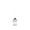 This item: Paramount Matte Black and Brass Five-Inch One-Light Mini Pendant with White Muslin Shade