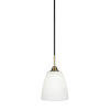 This item: Paramount Matte Black and Brass Eight-Inch One-Light Mini Pendant with White Matrix Shade