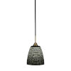 This item: Paramount Matte Black and Brass Eight-Inch One-Light Mini Pendant with Black Matrix Shade