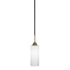 This item: Paramount Matte Black and Brass 14-Inch One-Light Mini Pendant with White Matrix Shade