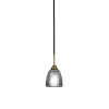 This item: Paramount Matte Black and Brass Five-Inch One-Light Mini Pendant with Clear Ribbed Shade