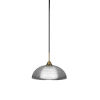 This item: Paramount Matte Black and Brass 13-Inch One-Light Pendant with Clear Ribbed Shade