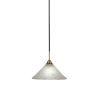 This item: Paramount Matte Black and Brass 12-Inch One-Light Pendant with Frosted Crystal Shade
