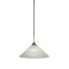 This item: Paramount Matte Black and Brass 16-Inch One-Light Pendant with Italian Ice Shade