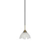 This item: Paramount Matte Black and Brass Seven-Inch One-Light Mini Pendant with Gold Ice Shade