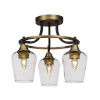 This item: Paramount Matte Black and Brass 15-Inch Three-Light Semi-Flush