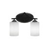 This item: Zilo Matte Black Two-Light Bath Vanity with White Muslin Glass