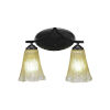 This item: Zilo Matte Black Two-Light Bath Vanity with Fluted Amber Crystal Glass