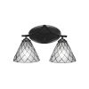 This item: Zilo Matte Black Two-Light Bath Vanity with Diamond Ice Tiffany Glass