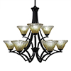 This item: Zilo Matte Black 31-Inch Nine-Light Chandelier with Amber Crystal Glass