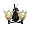This item: Capri Dark Granite 14-Inch Two-Light Wall Sconce with Vanilla Leaf Glass