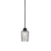 This item: Cordova Matte Black One-Light Mini Pendant with Silver Textured Glass Shade