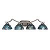 This item: Zilo Graphite Four-Light Bath Vanity with Blue Mosaic Tiffany Glass