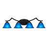 This item: Zilo Matte Black Four-Light Bath Vanity with Blue Italian Glass