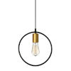 This item: Geometric Matte Black with Vintage Bronze One-Light Round Pendant