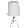 This item: Tripod Satin Chrome 15-Inch One-Light Table Lamp with White Silver Shade