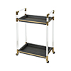 This item: Acrylic, Gold Plated Stainless Steel and Grey Faux Leather 24-Inch Bar Cart