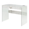 This item: SoHo Faux White Marble Glass Desk with Charging Station