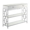 This item: Town Square Mirror, Glass and Chrome Single Drawer Mirrored Console Table