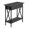 This item: Tucson Charcoal Gray and Black Flip Top End Table with Charging Station
