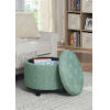 This item: Designs4Comfort Green Faux Linen 20-Inch Round Ottoman