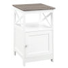 This item: Oxford Driftwood and White End Table with Cabinet