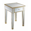This item: Gold Coast Champagne Mirror Mirrored End Table with Drawer