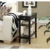 This item: American Heritage Black Three-Tier Side and End Table with Drawer