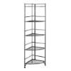 This item: Designs2go Black Five-Tier Folding Metal Corner Shelf Media Tower
