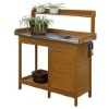 This item: Deluxe Light Oak Garden Potting Bench with Cabinet