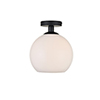 This item: Baxter Black and Frosted White Nine-Inch One-Light Semi-Flush Mount