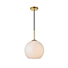 This item: Baxter Brass and Frosted White 11-Inch One-Light Pendant