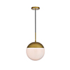 This item: Eclipse Brass and Frosted White 12-Inch One-Light Pendant
