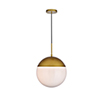 This item: Eclipse Brass and Frosted White 14-Inch One-Light Pendant