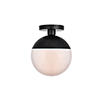 This item: Eclipse Black and Frosted White 10-Inch One-Light Semi-Flush Mount