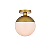 This item: Eclipse Brass and Frosted White 10-Inch One-Light Semi-Flush Mount