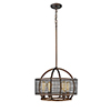 This item: Rubbed Bronze and Wood Grain Four-Light Pendant