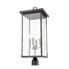 This item: Barkeley Powder Coat Black Four-Light Outdoor Post Lantern With Transparent Glass