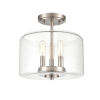 This item: Asheville Satin Nickel Three-Light Semi Flushmount With Transparent Glass