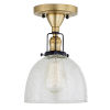 This item: Nob Hill Madison Satin Brass and Black One-Light Semi Flush Mount with Clear Bubble Glass