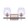 This item: Cain Black and Gold Two-Light Bath Vanity